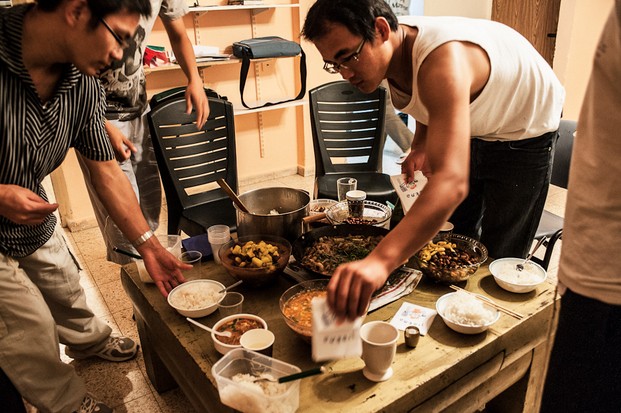 The Kaifeng Jews prepare a typical Chinese dinner at their flat on the outskirt of Jerusalem.