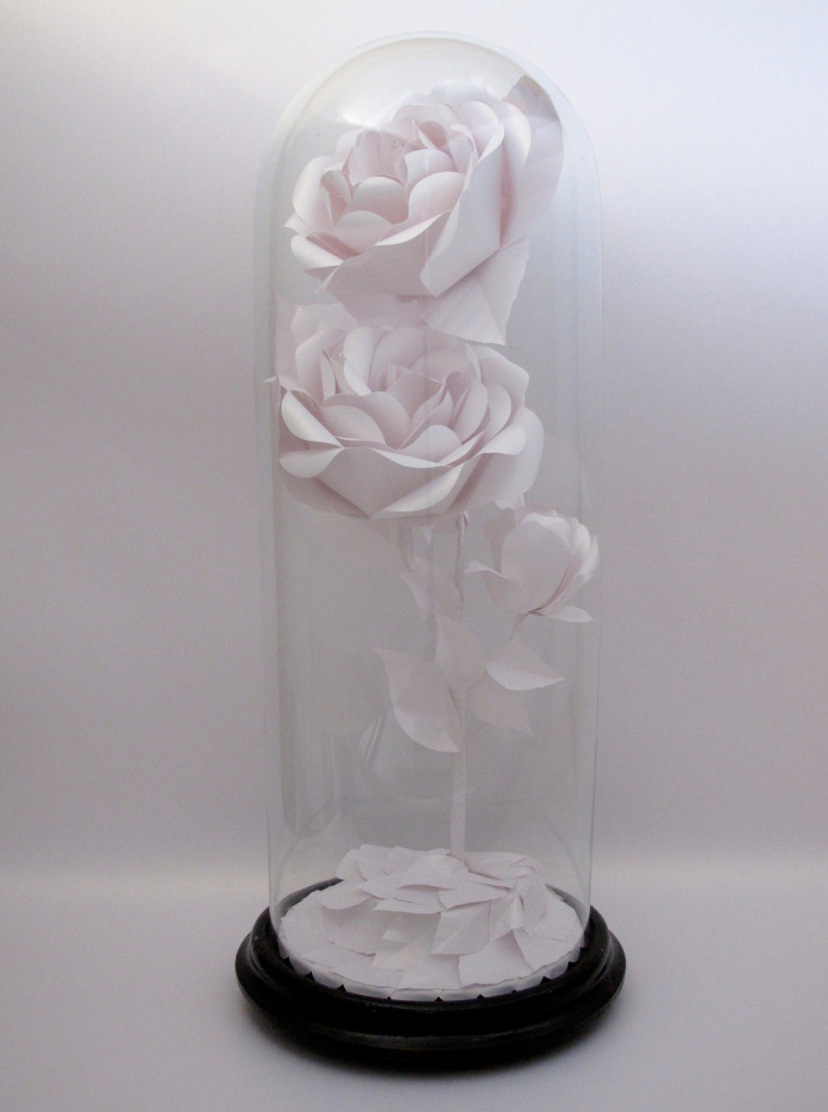 2-BESPOKE PAPER ROSE SCULPTURE IN  WHITE GOLD IN HAND BLOWN GLASS DOME BY ZOE BRADLEY. Represented at London Craft Week by Crafted.