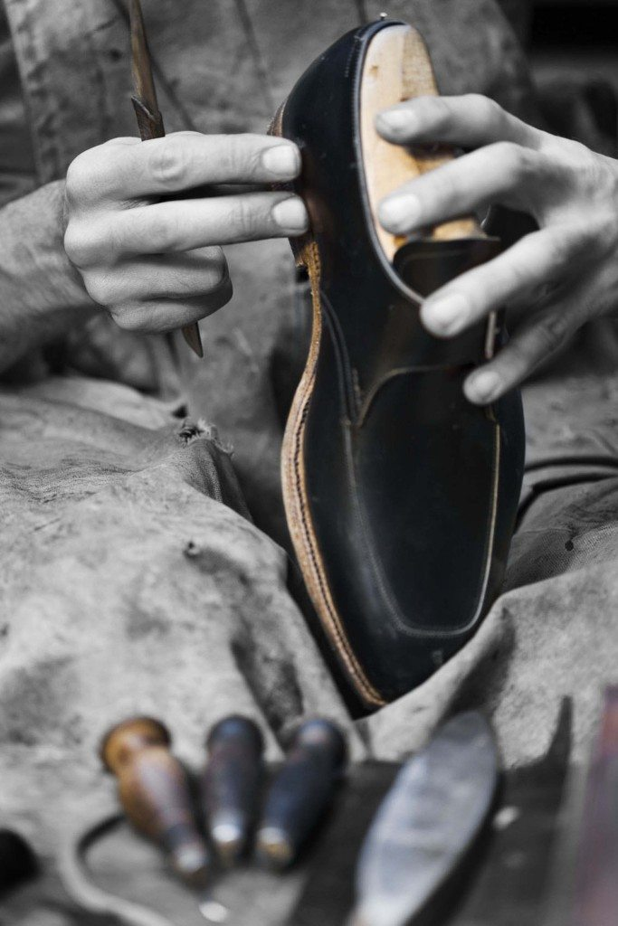 Building heel - Process 172 of the 200+ steps in making handsewn shoes - using only paste, nails, a hammer and layers of pit-tanned oak bark leather,at Carreducker