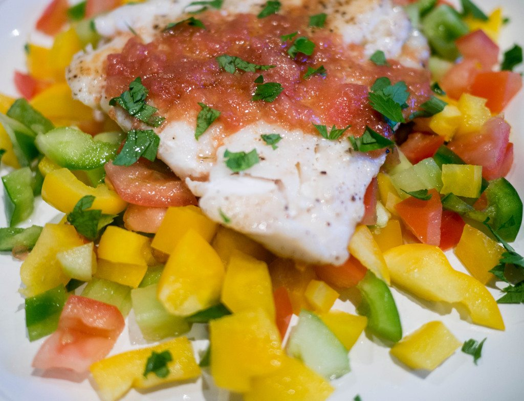 Fish with gazpacho salsa, Little Observationist